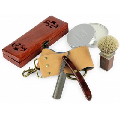 A.P. Donovan - Luxus 7-8 Zoll Rasiermesser mit Damast-Klinge und Mahagoni Holzgriff (inkl. Schatulle, Seife, Paste, Pinsel, Streichriemen) im Set