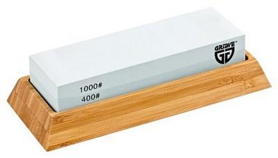 GRÄWE Wetzstein TWINSTAR Körnung 1000 - 400 mit Halter aus Bambus perfekt für Damast Messer