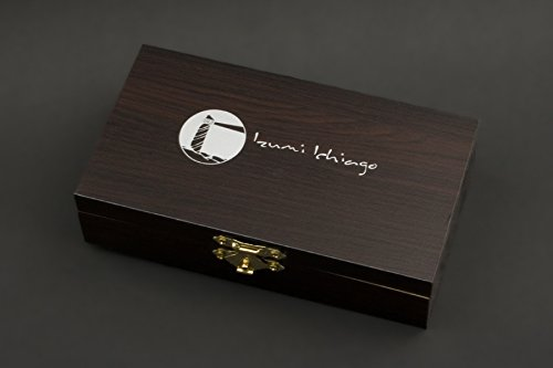 IZUMI ICHIAGO - Little Fox Taschenmesser aus Japanischem Damaststahl in edler Aufbewahrungsbox aus holz