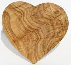 Olivenholzbrett HEARTBEAT - Größe 20 x 20 cm